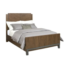 American Drew Modern Synergy Chevron Queen Panel Bed in Walnut