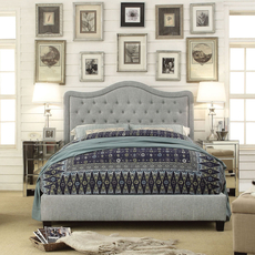 Alton Adella Waved Top Linen Upholstered Queen Platform Bed in Charcoal