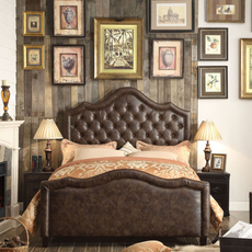 Alton Alisa Hand Tufted Leather Upholstered Queen Bed in Espresso