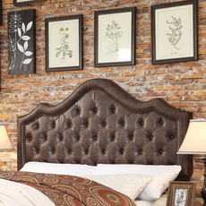 Alton Alisa Hand Tufted Leather Upholstered Queen Headboard in Espresso
