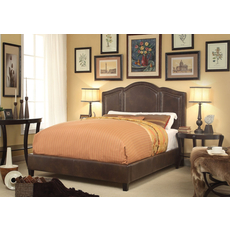 Alton Belita Leather Upholstered Queen Platform Bed in Espresso