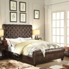 Alton Calia Hand Tufted  Leather Upholstered Linen Bed in Espresso