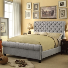 Alton Calia Hand Tufted  Linen Upholstered Linen Bed in Gray