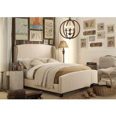 Alton Chavelle Wing Back Linen Upholstered Queen Bed in Beige