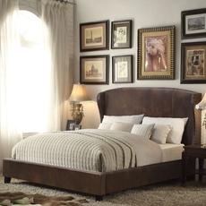 Alton Chavelle Wing Back Leather Upholstered Queen Platform Bed in Espresso