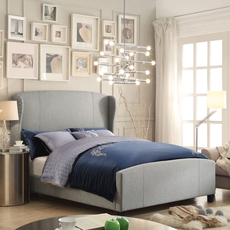 Alton Chavelle Wing Back Linen Upholstered Queen Bed in Gray