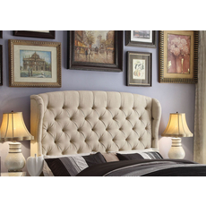 Alton Feliciti Hand Tufted Wing Back Linen Upholstered Queen Headboard in Beige