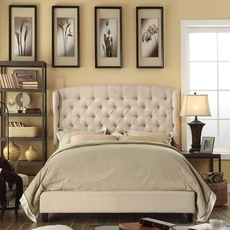 Alton Feliciti Hand Tufted Wing Back Linen Upholstered Queen Platform Bed in Beige