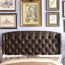 Alton Feliciti Hand Tufted Wing Back Leather Upholstered Queen Headboard in Espresso