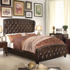 Alton Feliciti Hand Tufted Wing Back Leather Upholstered Queen Bed in Espresso