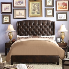 Alton Feliciti Hand Tufted Wing Back Leather Upholstered Queen Platform Bed in Espresso