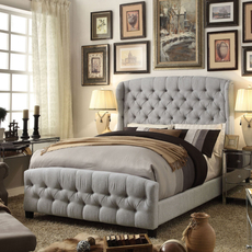Alton Feliciti Hand Tufted Wing Back Linen Upholstered Queen Bed in Gray
