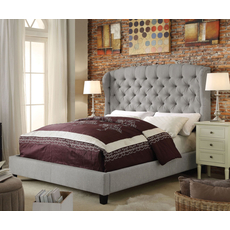 Alton Feliciti Hand Tufted Wing Back Linen Upholstered Queen Platform Bed in Gray