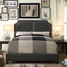 Alton Sanibel Gunmetal Gray Upholstered Queen Platform Bed