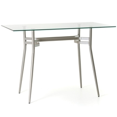 Amisco Anais Rectangular or Square Glass Top Bar Height Table