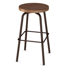 Amisco Button 30 Inch Swivel Bar Stool with Wood Seat