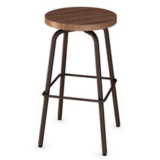 Amisco Button 34 Inch Swivel Bar Stool with Wood Seat