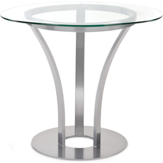 Amisco Dalia Round or Square Glass Top Dining Table