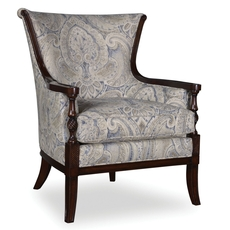 A.R.T. Furniture Bristol Linen Carved Wood Accent Chair