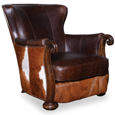 A.R.T. Furniture Kennedy Walnut Hide Lounge Chair