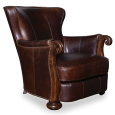 A.R.T. Furniture Kennedy Walnut Leather Lounge Chair with Wood Arms