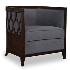 A.R.T. Furniture Morgan Charcoal Barrel Back Chair with Fretwork