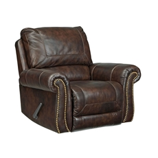 Signature Design by Ashley Bristan Leather Rocker Recliner in Walnut