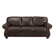 Signature Design by Ashley Bristan Leather Sofa in Walnut