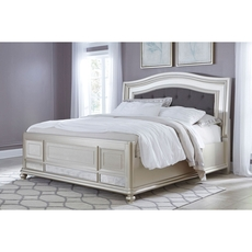 Signature Design by Ashley Coralayne Cal King Size Mirrored and Upholstered Panel Bed