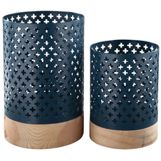 Signature Design by Ashley Daichi Navy and Natural Candle Holder Set of 2
