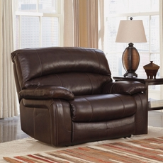 Signature Design by Ashley Damacio Zero Wall Wide Seat Recliner in Dark Brown