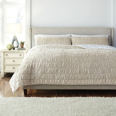 Signature Design by Ashley Floral Beige Quilt Ensemble