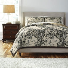 Clearance Signature Design by Ashley Indigo King Quilt Ensemble OVLB0818151