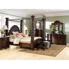 Signature Design by Ashley New Haven 5 Piece King Poster Bedroom Set with 2nd Nightstand Free