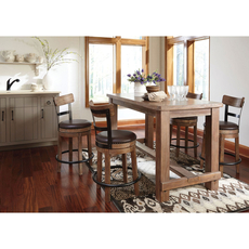 Signature Design by Ashley Pastoral Charm Pinnadel 5 Piece Counter Height Dining Set with Upholstered Swivel Barstools