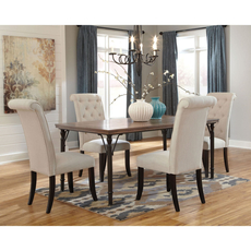 Signature Design by Ashley Pastoral Charm Tripton 5 Piece Dining Set in Linen