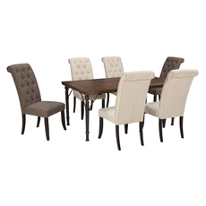 Signature Design by Ashley Pastoral Charm Tripton 7 Piece Dining Set in Linen and Graphite