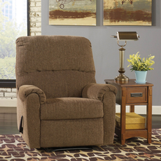 Signature Design by Ashley Pranit Zero Wall Recliner in Walnut