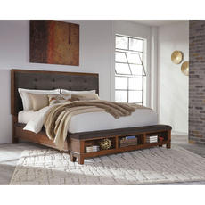 Signature Design by Ashley Ralene Cal King Size Upholstered Bed with Storage Footboard