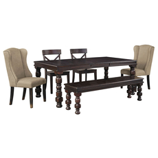 Signature Design by Ashley Timber and Tanning Gerlane 6 Piece Dining Set with Upholstered Side Chairs and Bench