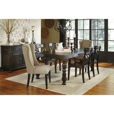 Signature Design by Ashley Timber and Tanning Gerlane 7 Piece Dining Set with Upholstered Side Chairs