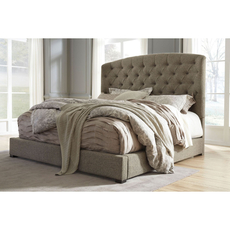 Signature Design by Ashley Timber and Tanning Gerlane King Size Upholstered Platform Bed
