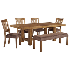Signature Design by Ashley Timber and Tanning Tamilo 6 Piece Dining Set