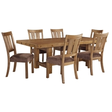 Signature Design by Ashley Timber and Tanning Tamilo 7 Piece Upholstered Chair Dining Set