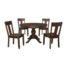 Signature Design by Ashley Timber and Tanning Trudell 5 Piece Round Table Dining Room Set