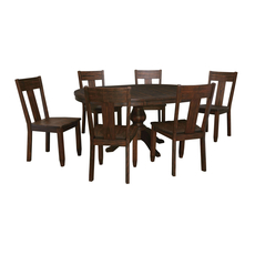 Signature Design by Ashley Timber and Tanning Trudell 7 Piece Round Table Dining Room Set