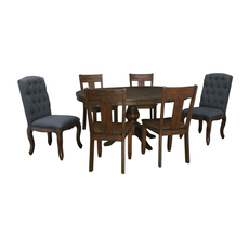 Signature Design by Ashley Timber and Tanning Trudell 7 Piece Round Table Dining Room Set with Upholstered Chairs