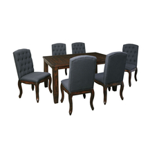Signature Design by Ashley Timber and Tanning Trudell 7 Piece Upholstered Chair Dining Room Set