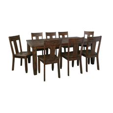 Signature Design by Ashley Timber and Tanning Trudell 9 Piece Dining Room Set