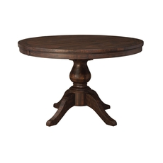Signature Design by Ashley Timber and Tanning Trudell Round Dining Room Extension Pedestal Table